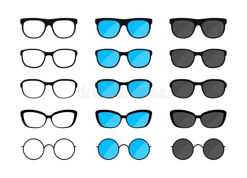 Grupo grande de vidros Óculos de sol, vidros pretos das silhuetas, monóculos Ilustra??o do vetor ilustração royalty free