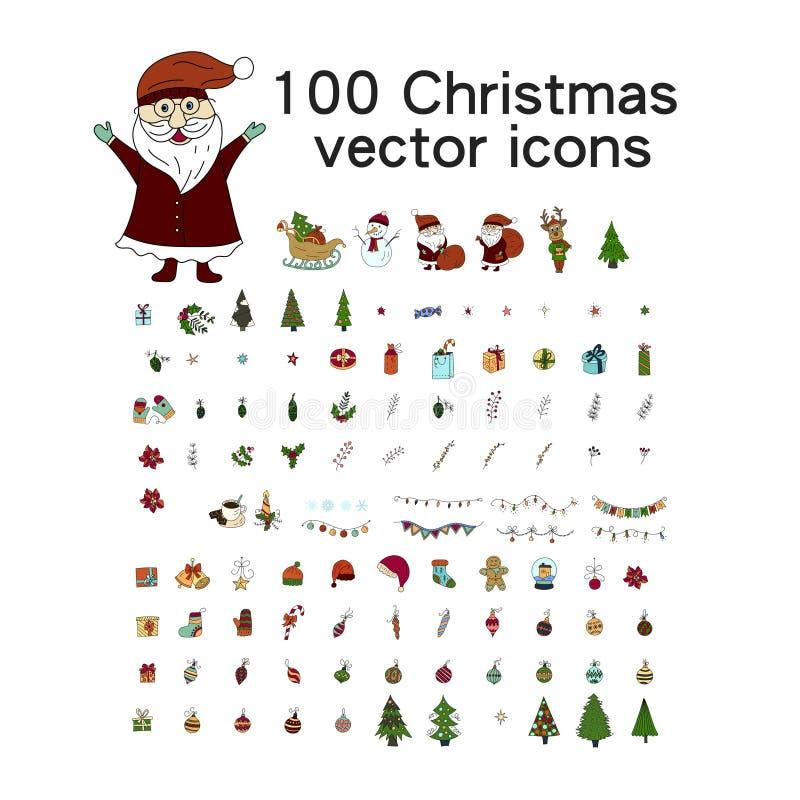Grupo grande do ícone do Natal 100 ícones do inverno ilustração royalty free