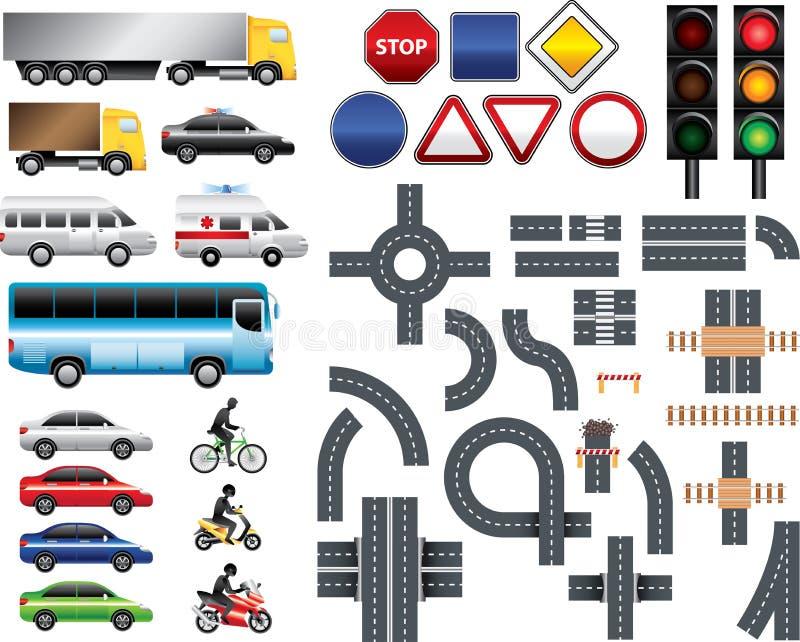 Grupo grande do conjunto de ferramentas do mapa de estradas ilustração stock
