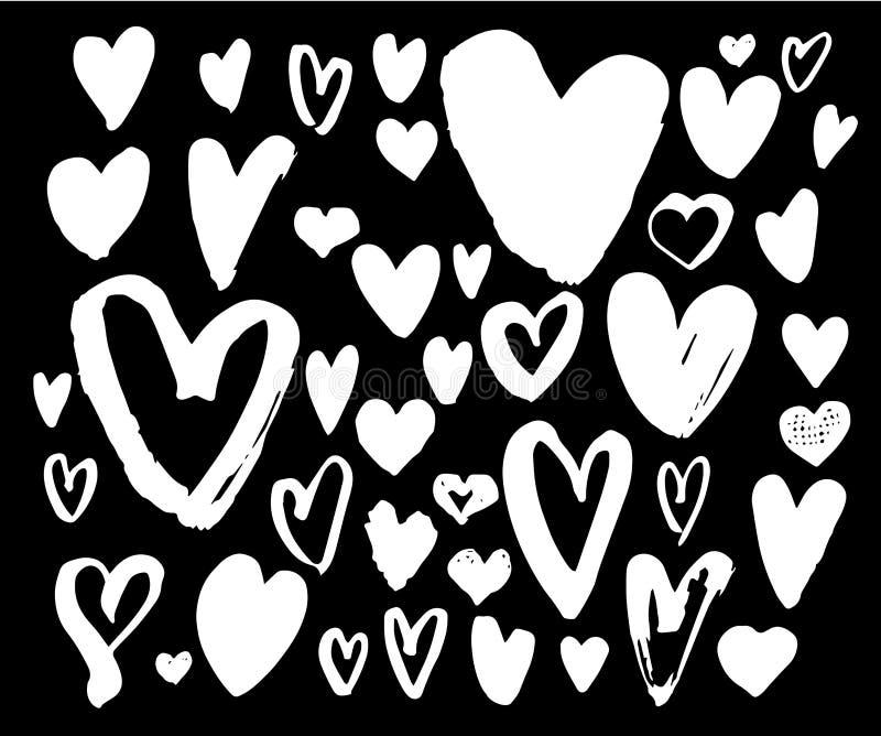 Grupo grande do coração da pena da escova Coleção diferente dos corações da escrita ilustração do vetor