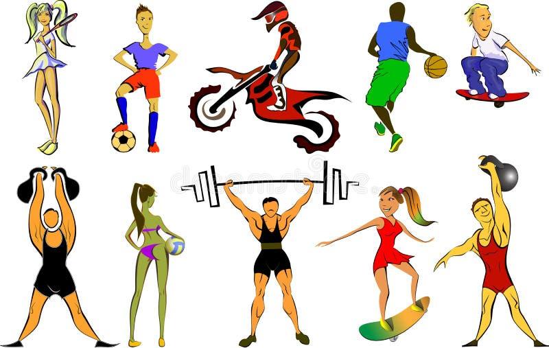 Grupo grande do esporte ilustração stock