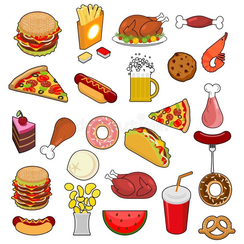 Grupo grande do fast food Sinais da alimentação Coleção do ícone da carne Pizza ilustração stock