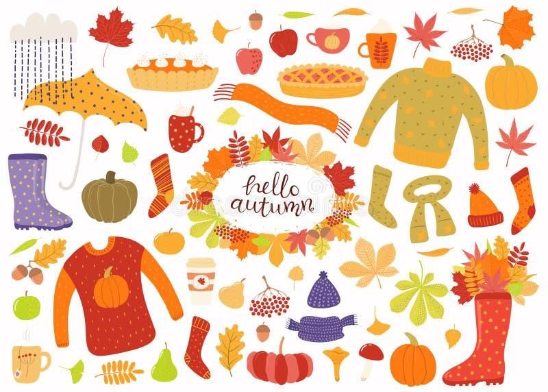 Grupo grande do outono com folhas, roupa, alimento ilustração stock