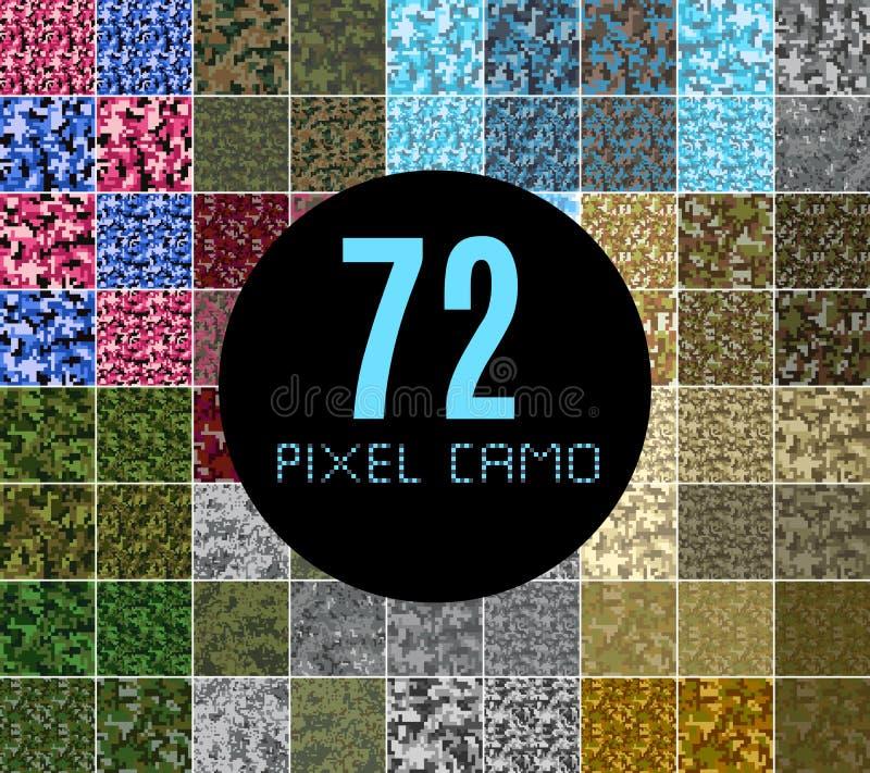 Grupo grande do teste padrão sem emenda do camo do pixel ilustração royalty free