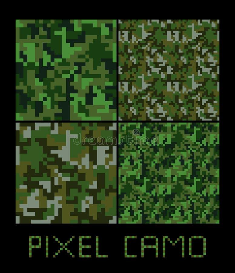Grupo grande do teste padrão sem emenda do camo do pixel Verde, floresta, selva, urbana, camuflagens do marrom ilustração do vetor