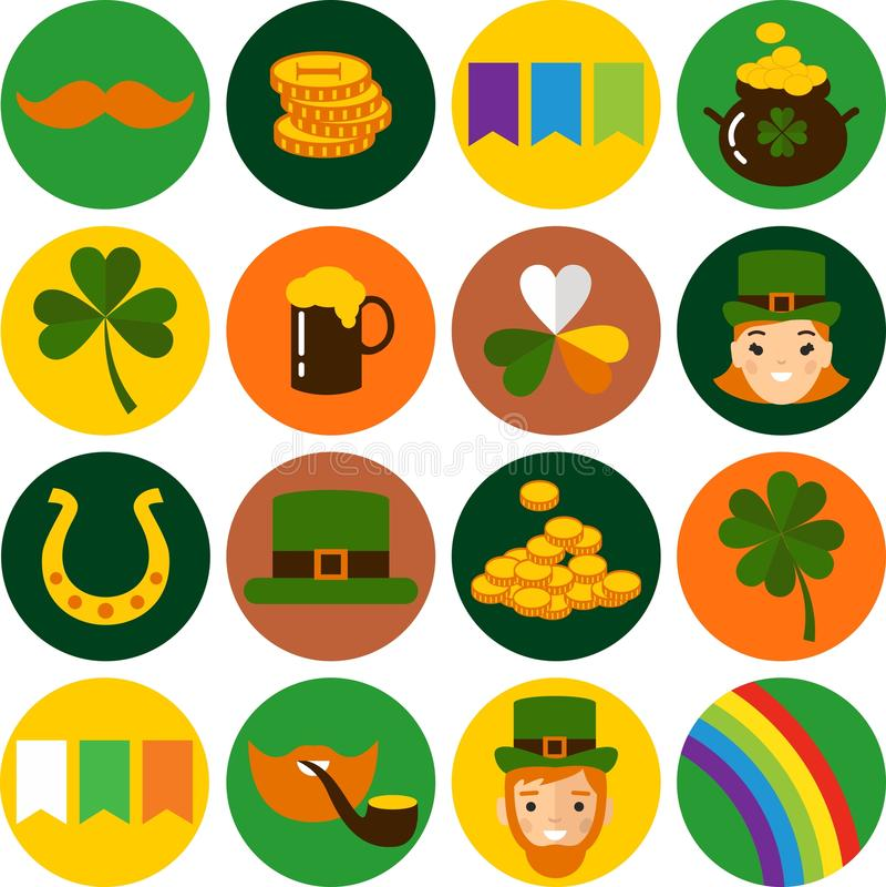 Grupo grande do vetor de ícones do dia de Patricks de Saint ilustração stock