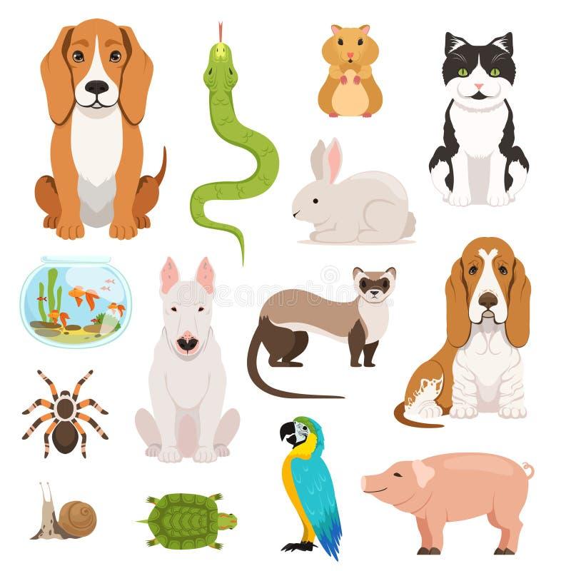 Grupo grande do vetor de animais domésticos diferentes Gatos, cães, hamster e outros animais de estimação no estilo dos desenhos  ilustração do vetor