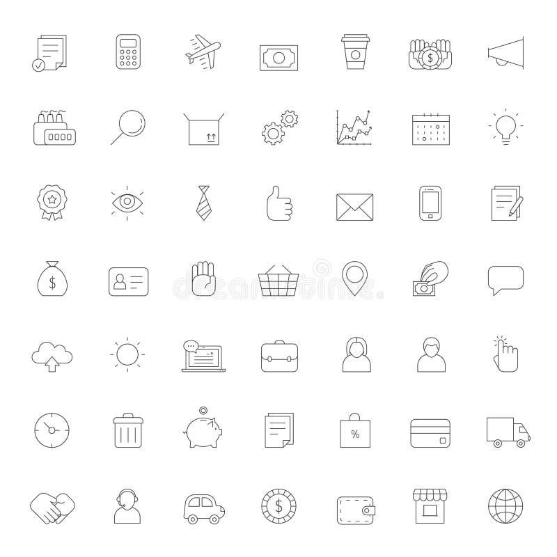 Grupo grande do vetor dos ícones do negócio do esboço Projeto simples ilustração stock