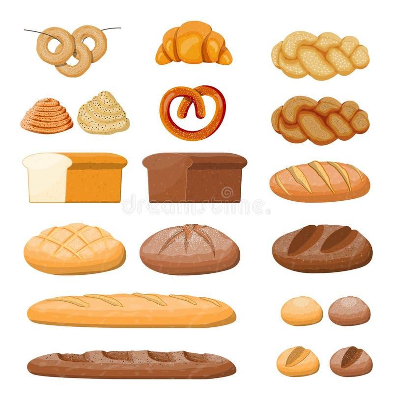 Grupo grande dos ícones do pão ilustração royalty free