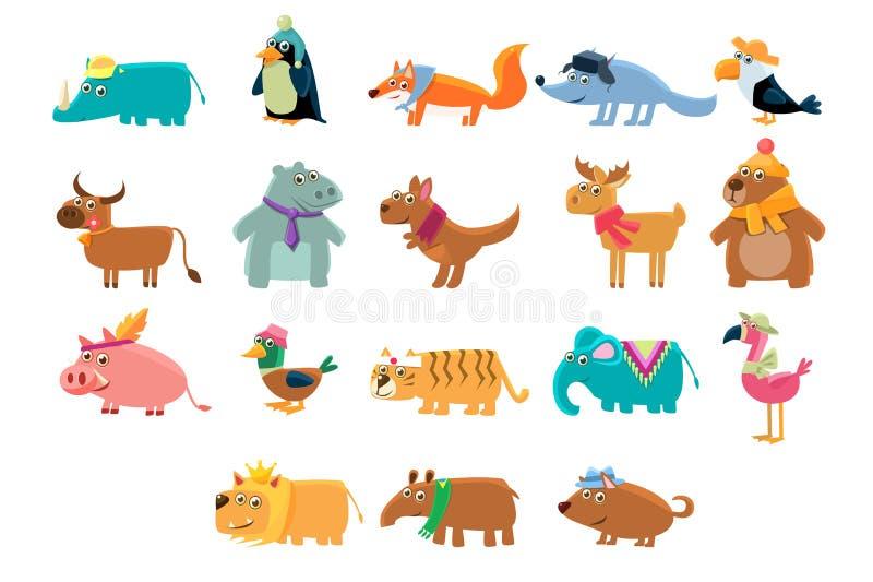 Grupo grande dos animais bonitos na ilustra??o crian?ola do vetor das cores brilhantes ilustração stock