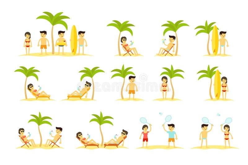 Grupo grande dos povos dos feriados da praia dos desenhos animados A mulher e equipa férias dos turistas no mar Palmas, recurso M ilustração royalty free