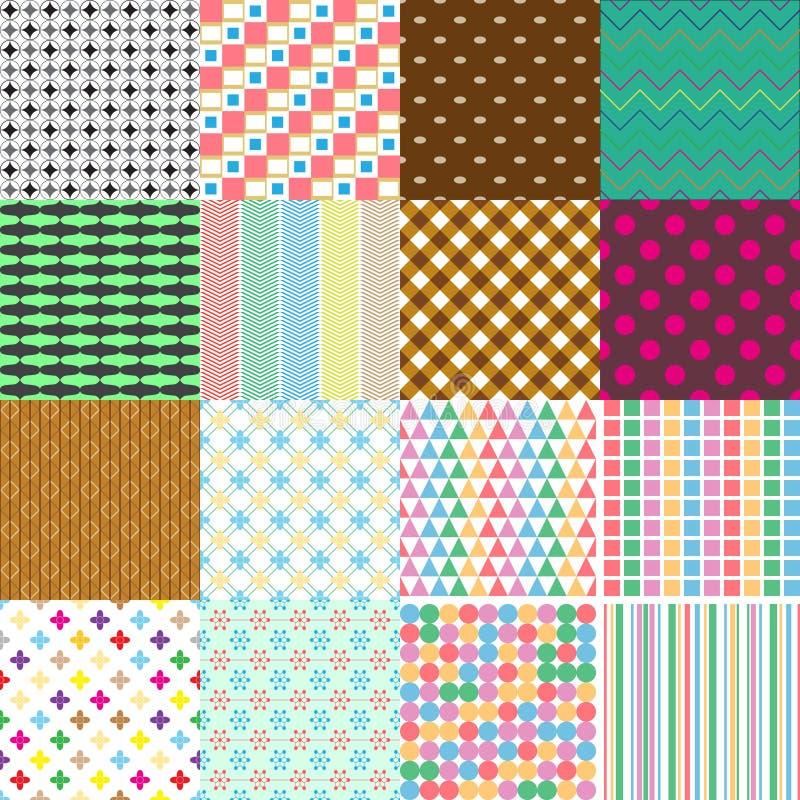 Grupo grande dos testes padrões simples sem emenda retros abstratos eps10 ilustração do vetor