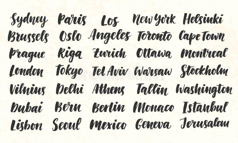 Grupo grande escrito mão da caligrafia da escova dos nomes da cidade ilustração do vetor