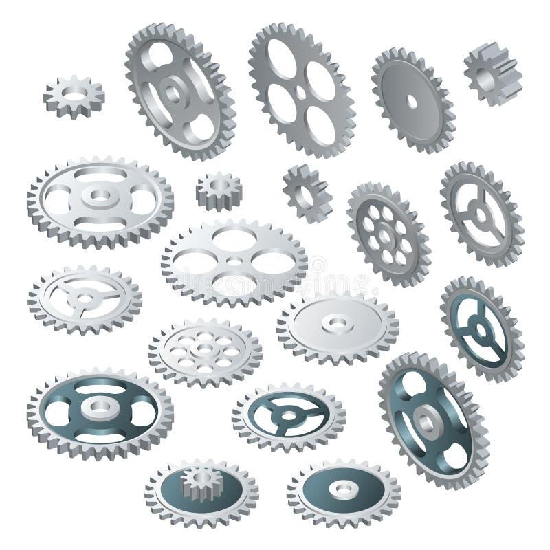 Grupo grande isométrico de rodas de engrenagem Tecnologia futurista do vetor Olá!-tecnologia da ilustração, engenharia, telecomun ilustração royalty free