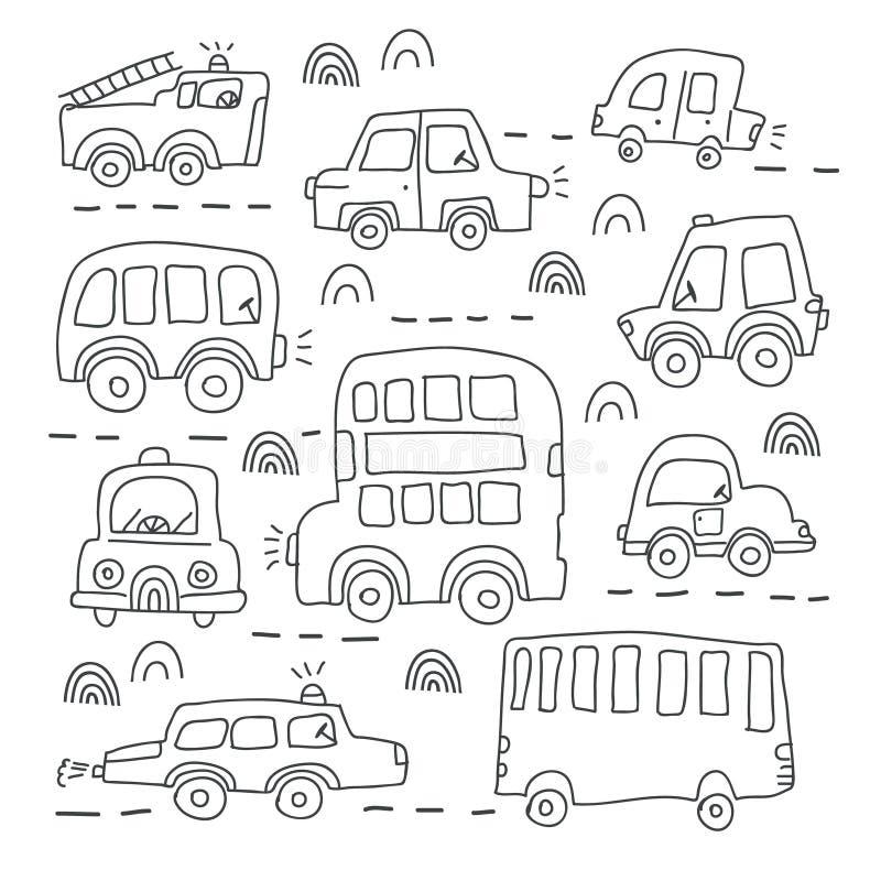 Grupo grande mão diferente de carros tirados do brinquedo foto de stock royalty free