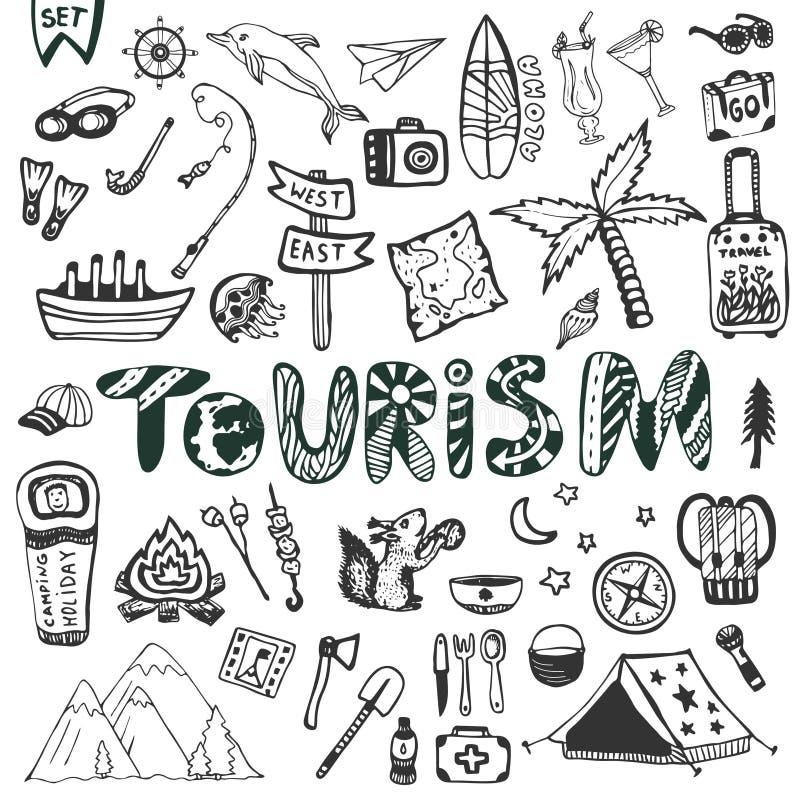 Grupo grande tirado mão Férias de verão - acampamento e férias do mar Coleção do vetor dos ícones do curso Rotulação do turismo d ilustração do vetor