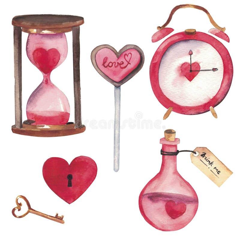 Grupo Handdrawn da aquarela de elementos isolados no fundo branco Elementos coração-dados forma bonitos: veneno do amor, chave ilustração royalty free
