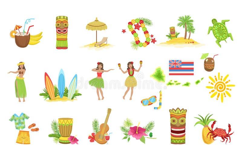 Grupo havaiano das férias de símbolos clássicos ilustração do vetor