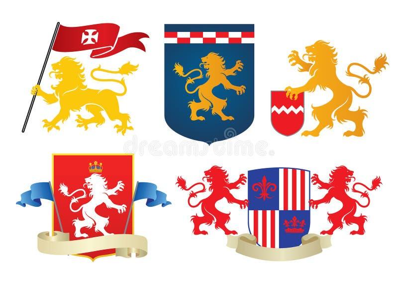 Grupo heráldico simples do leão ilustração royalty free