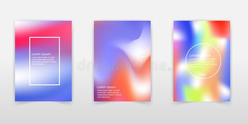 Grupo holográfico do cartaz Abstraia fundos Cartaz holográfico futurista com malha do inclinação 90s, estilo 80s retro iridescent ilustração royalty free