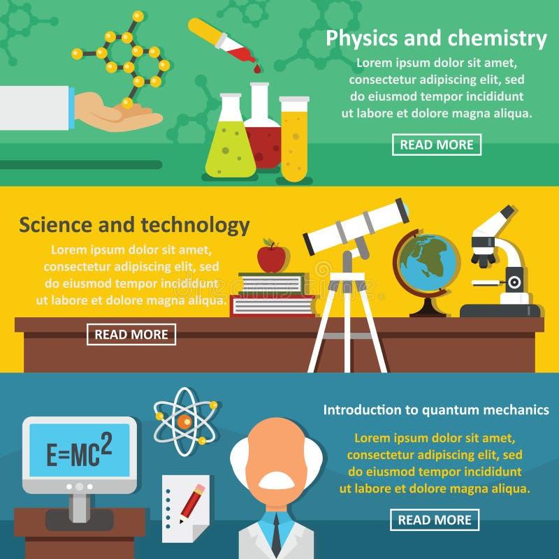 Grupo horizontal da bandeira da tecnologia da ciência, estilo liso ilustração stock
