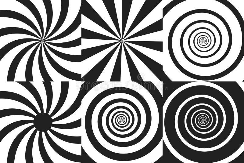 Grupo horizontal da bandeira de espiral psicadélico com raios radiais, pirueta, efeito cômico torcido, fundos do redemoinho Vetor ilustração do vetor