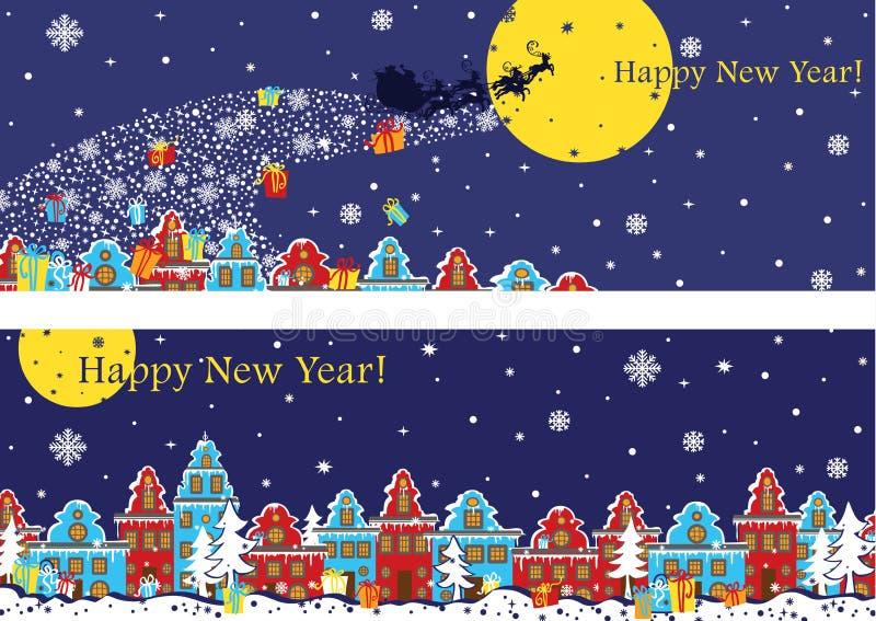 Grupo horizontal da bandeira do ano novo Santa Claus que vem à cidade ilustração stock