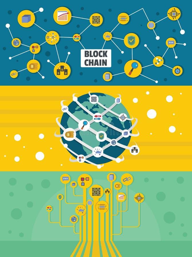 Grupo horizontal da bandeira do mineiro de Blockchain, estilo liso ilustração royalty free