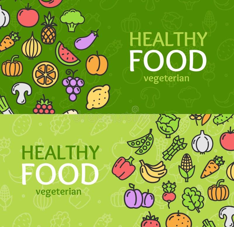 Grupo horizontal da bandeira saudável da loja de Eco dos alimentos Vetor ilustração royalty free