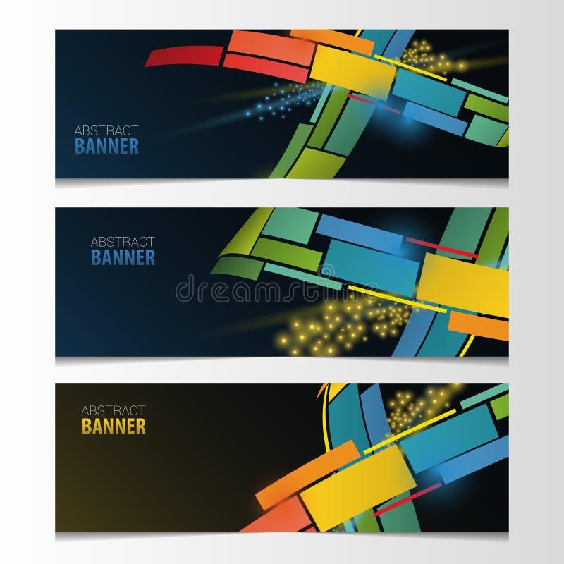 Grupo horizontal da bandeira Vetor colorido abstrato ilustração stock