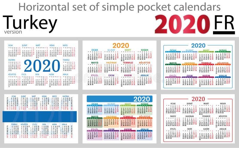 Grupo horizontal de Turquia de calendários do bolso para 2020 ilustração stock