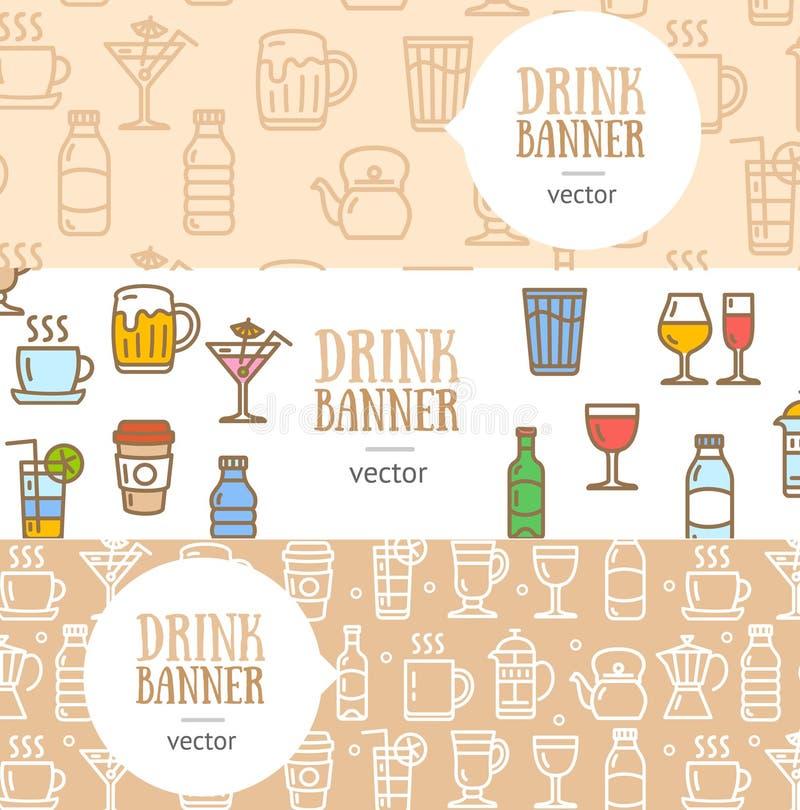 Grupo horizontal do inseto da bandeira da bebida Vetor ilustração stock