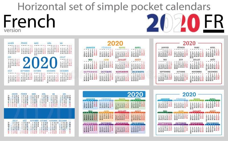 Grupo horizontal francês de calendários do bolso para 2020 ilustração stock