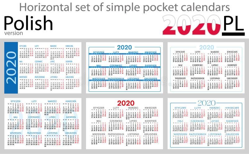 Grupo horizontal polonês de calendários do bolso para 2020 ilustração royalty free