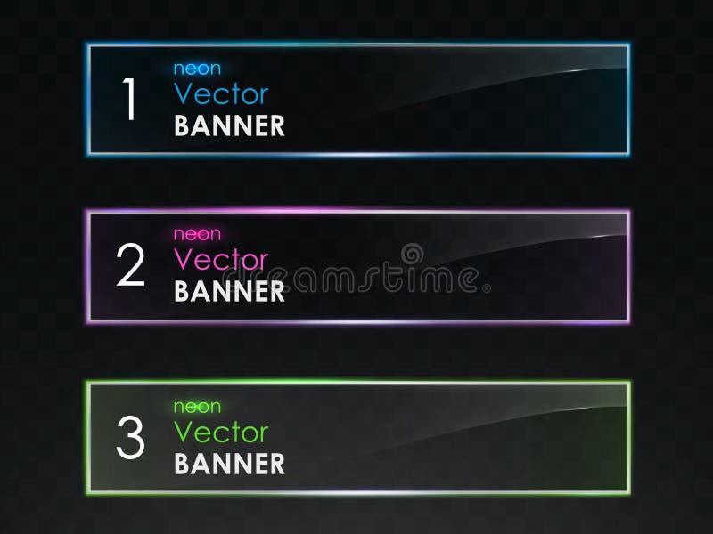 Grupo horizontal realístico do vetor das bandeiras da luz de néon ilustração do vetor