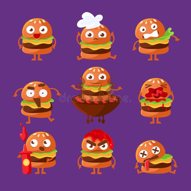 Grupo humanizado desenhos animados da etiqueta de Emoji do caráter do sanduíche do fast food do hamburguer de ilustrações do veto ilustração do vetor