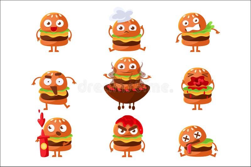 Grupo humanizado desenhos animados da etiqueta de Emoji do car?ter do sandu?che do fast food do hamburguer de ilustra??es do veto ilustração royalty free