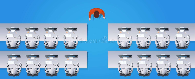 Grupo humanoid de los robots de la enseñanza del profesor del hombre que se sienta en los escritorios en concepto robótico de la  ilustración del vector