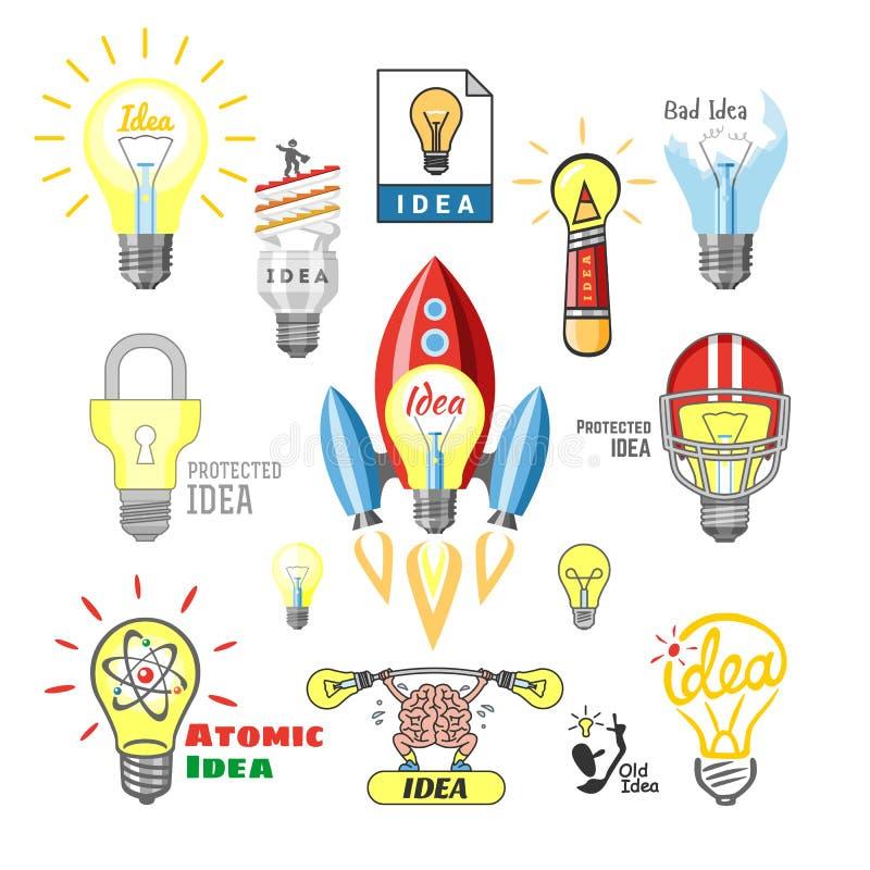Grupo ideal da ilustração do poder da energia de iluminação elétrica da solução do ícone da ampola do vetor da lâmpada da ideia d ilustração do vetor