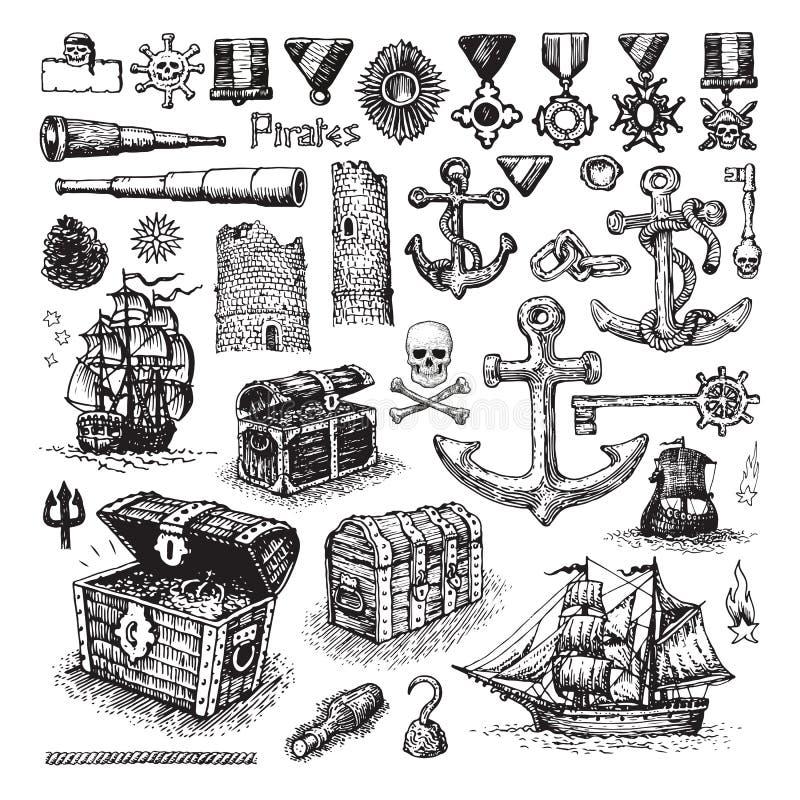 Grupo ilustrado de ícones do pirata ilustração royalty free