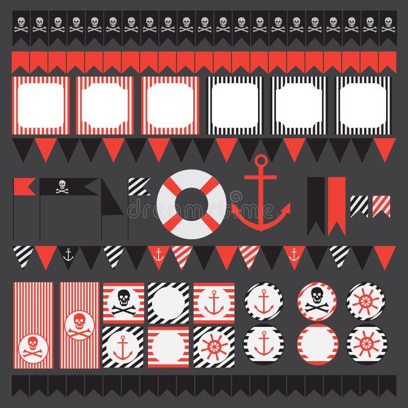 Grupo imprimível de elementos do partido do pirata do vintage ilustração royalty free