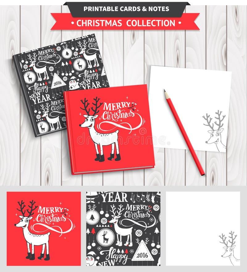 Grupo imprimível do Feliz Natal ilustração stock