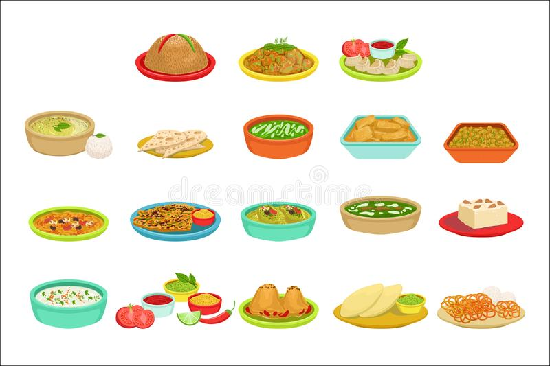 Grupo indiano da ilustra??o dos pratos da assinatura do alimento ilustração do vetor