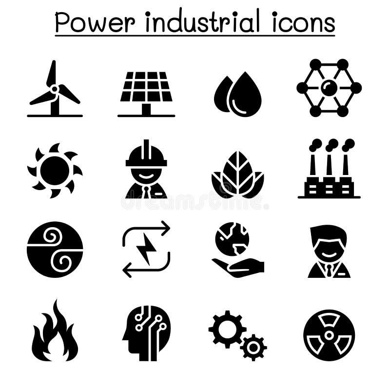 Grupo industrial do ícone do poder & da energia ilustração royalty free