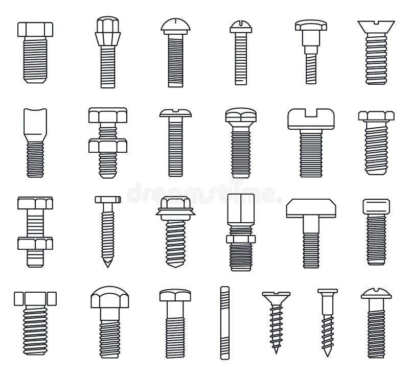 grupo industrial dos ícones do Parafuso-parafuso, estilo do esboço ilustração stock