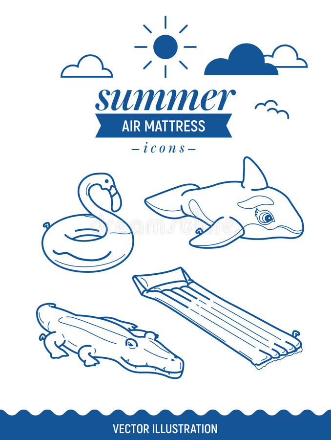 Grupo inflável do ícone do colchão de ar Ícones do esboço do verão com nuvens e sol Baleia, crocodilo, flamingo e matt simples re ilustração royalty free