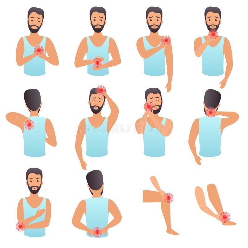 Grupo infographic da dor das partes do corpo O homem sente a dor em partes diferentes da ilustração lisa do vetor do corpo ilustração do vetor