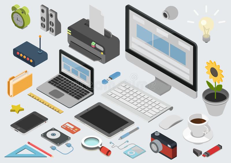 Grupo infographic do ícone do espaço de trabalho isométrico liso da tecnologia 3d ilustração do vetor