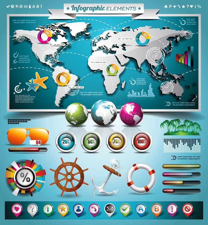 Grupo infographic do curso do verão do vetor com elementos do mapa do mundo e das férias. ilustração royalty free