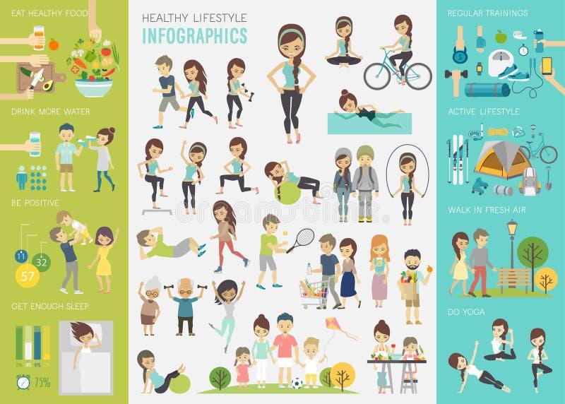 Grupo infographic do estilo de vida saudável com cartas e outros elementos ilustração royalty free